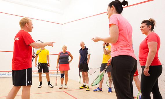 England Squash tutor delivering a coaching course