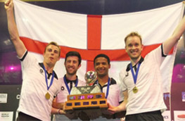 Team England men holding the England flag