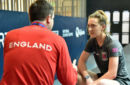 England coach David Campion with Millie Tomlinson