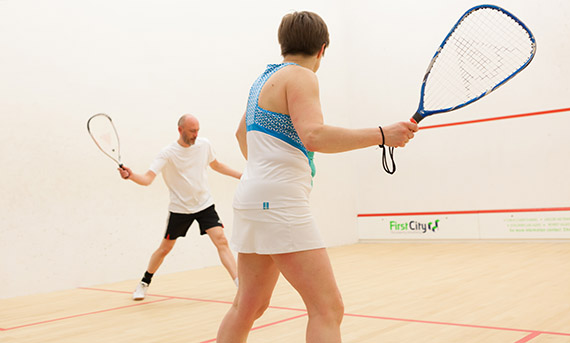 Squash 57 players on a squash court
