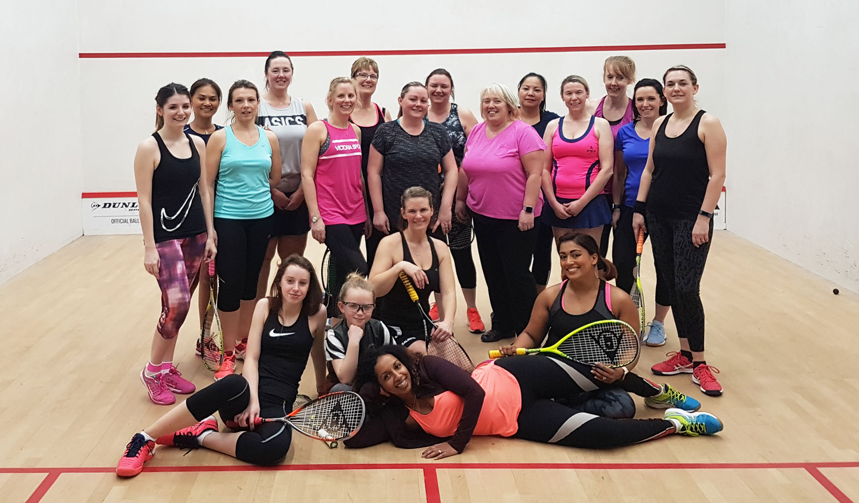 Jayne Robinson with the group of female players she coaches at Pontefract Squash Club