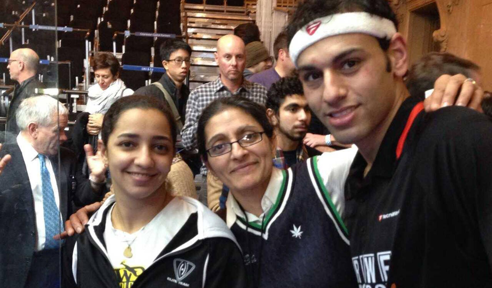 Alison pictured with Raneem El Welily and Mohamed ElShorbagy