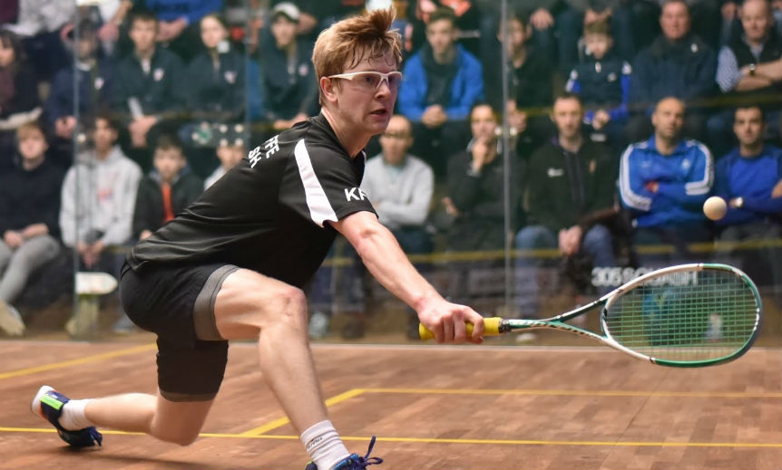 Kyle Finch playing squash