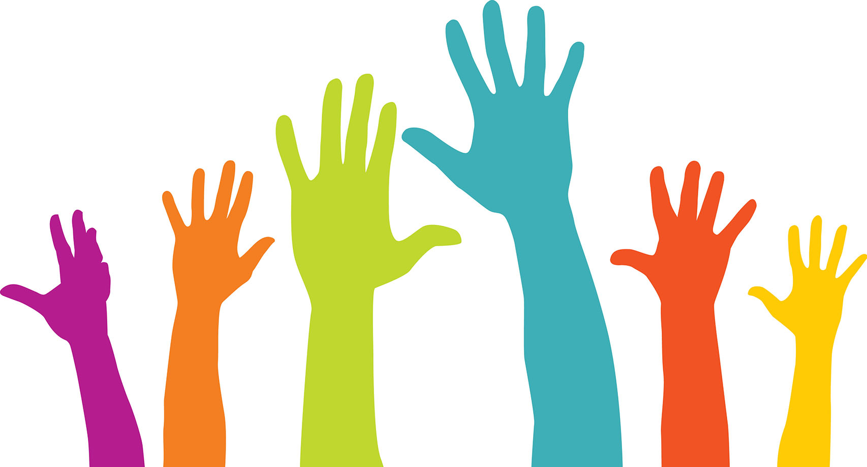 Graphic showing hands in the air