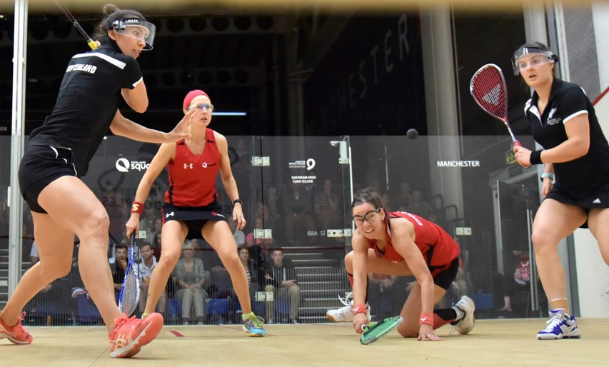 Alison Waters and Jenny Duncalf in action against New Zealand's Joelle King and Amanda Landers-Murphy