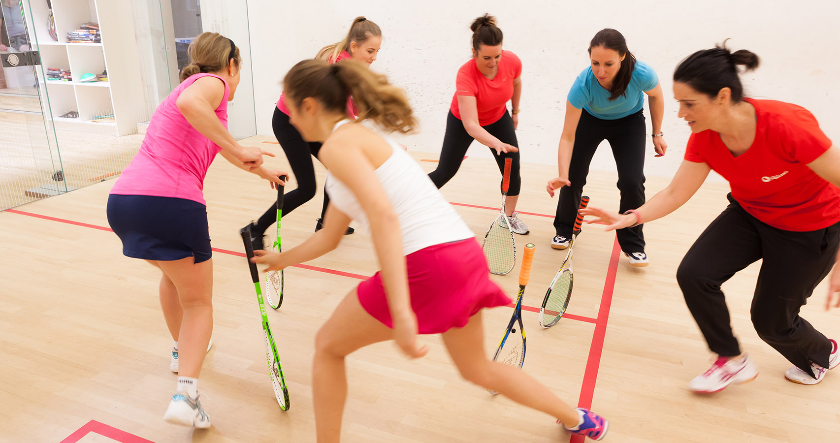 Participants at a Squash Girls Can session