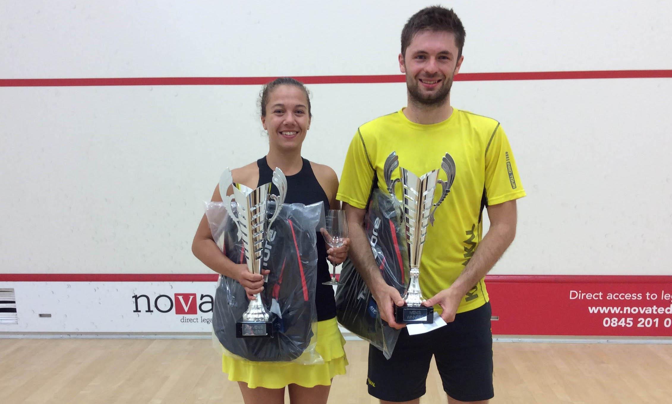 Women's Open winner Deon Saffery and Men's Open champion Mike Harris