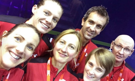 Robbo with the England women at the World Team Championships in Helsinki