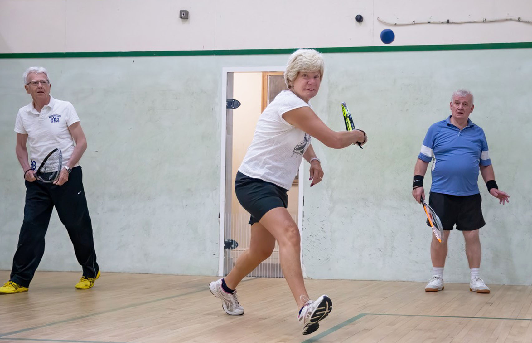 Squash 57 players at Princes Squash Club's U3A session